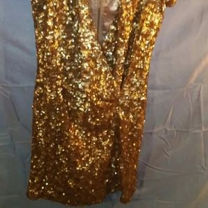 French Connection Gold Sequin Mini Party Dress